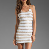 MM Couture by Miss Me Sequin Stripe Tank Dress in White/Gold from REVOLVEclothing.com