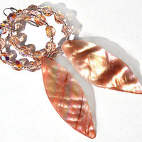 Pretty Peach Pink Earrings - Mother of Pearl Dangle Earrings - Sparkly Hoop - Ring od Fire Polished Crystals - Feminine Fashion