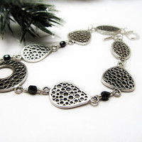 Sterling Silver Bracelet Bubble Link Bracelet  w. Black Crystal Accents