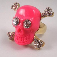 Pink Skull Rhinestone Cocktail Ring at Online Jewelry Store Gofavor