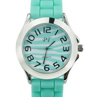 Mint Green Zebra Stripes Sports Watch