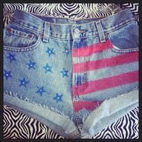 Flag and sparkle shorts  by AngeliqueMerici on Etsy