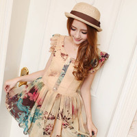 Water Color Picturesque Cute Chiffon Dress
