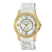 AK Anne Klein Women's 109588MPWT Swarovski Crystal Accented Gold-Tone White Ceramic Watch: Anne Klein: Watches