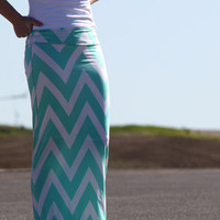 Tiffany Blue and White Chevron Maxi Skirt - Women