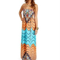 Aqua Abstract Floral Maxi Dresses