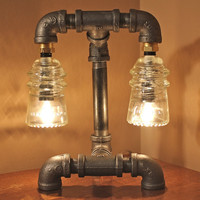 Industrial Style Pipe Lamp with Clear Glass Insulators