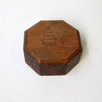 Antique art deco pokerwork octogonal wood trinket box with nautical decoration
