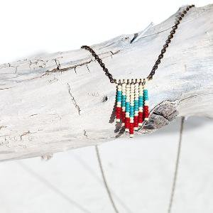 beaded fringe necklace in turquoise and red by nobletownvintage