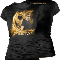 The Hunger Games Gold Peeta Juniors T-Shirt, ,Black ,Medium
