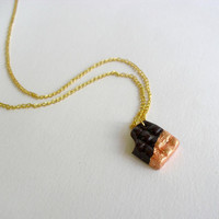 Chocolate Bar Pendant with rose gold- Polymer clay Jewelry