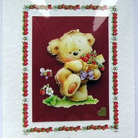 Teddy Bear Hand-Crafted 3D Decoupage Card - With Love (1594)