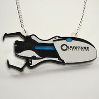 Portal Gun Necklace - Laser Engraved and Laser Cut - GLaDOS