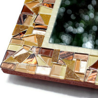 Brown Wall Mirror, Glass Mosaic