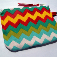 Aqua, Yellow, and Red Chevron  ID Case- zippered pouch keychain or wristlet