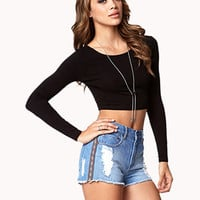 Frayed Southwestern Denim Shorts