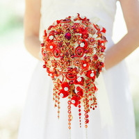 Ready to ship -- Cascading red and gold brooch bouquet