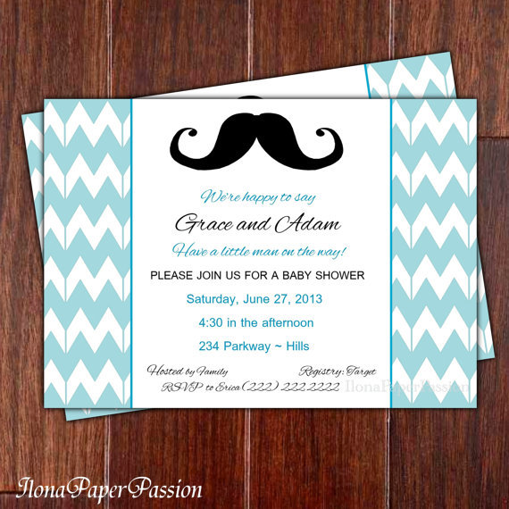 mustache baby shower invitation chevron from ilonapaperpassion