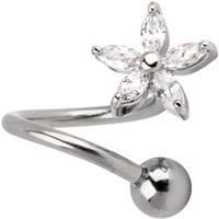 Crystalline LILY FLOWER Twister Belly Ring | Body Candy Body Jewelry