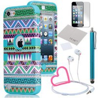 Amazon.com: Pandamimi ULAK Hybrid Green Hard Aztec Tribal Pattern + Blue Silicon Case Cover For Apple iPod Touch (Generation 5) + Stylwire Pink Heart Stereo Headphone + Stylus + Screen Protector: Cell Phones & Accessories
