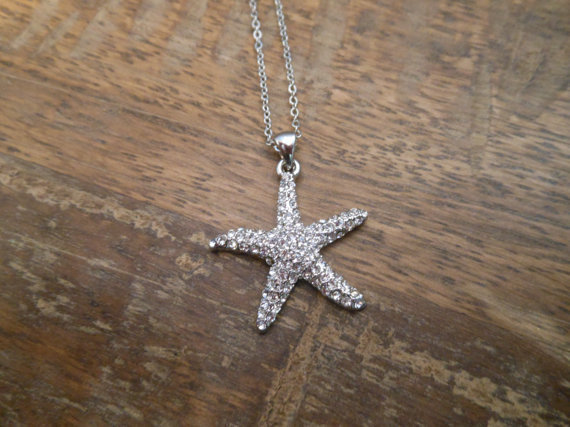 Starfish necklace with clear crystals by LiveCoastal on Etsy