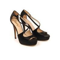 Yves Saint Laurent Cg 614 Black Satin Cross Over Sandals Size 36.5: Amazon.co.uk: Shoes & Accessories