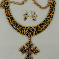 Fashion Statement Necklace Leopard Pendant Rhinestone Cross Gold Costume Set