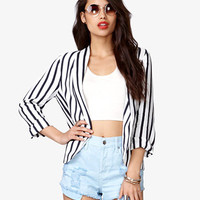 Open-Front Striped Blazer