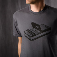 Men's S/S Tee Shirt Retro Cassette Tape Deck Voice Recorder, Vintage T- Shirt Sizes S-M-L-XL