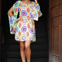 Merry Go Round Dress: Peach/Multi | Hope's