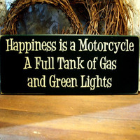 Motorcycle Wood Sign Happiness is Biker Wall Decor
