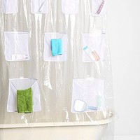 Mesh Pocket Shower Curtain