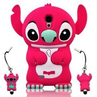 I Need 3D Fixed Ear Flip Silicone Cover Case Stitch & Lilo For Samsung Galaxy S4 S Iv I9500 Android Phone with 3d Stitch Stylus Pen - RED