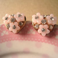 Heart Earrings with Pink Flowers by Bitsofbling on Etsy