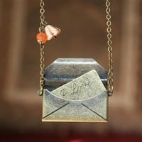 Antique Envelope with Love Message Locket Necklace by smilesophie