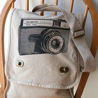 Vintage Camera Field Bag Canvas Screen Printed