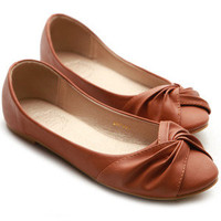 Cute Shoe Comfort Bowed Ballet Flats Loafers ollio Womens BROWN US 7.5