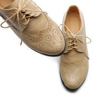 Womens Oxfords Lace Ups Low Heels Wingtip Dress ollio Shoes BEIGE US 8.5