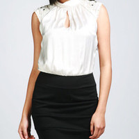 Mock Neck Keyhole Beaded Dress-$32.50-Career
