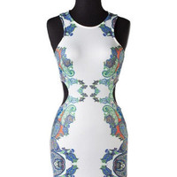 Symmetry in Bloom Cutout Bodycon Dress - White -  $56.00 | Daily Chic Accessories | International Shipping