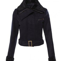 Indressme | Navy Blue Biker Jacket with Fur Collar  style 06-0309101 only $65.67 .
