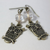 Antiqued Gold and Clear Cathedral Beaded Dangle Owl Earrings - Handmade Jewelry - Ready to Ship