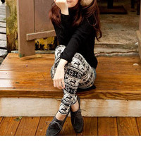 Chic Stripes with Snowflake Deer Leggings - OASAP.com