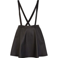Black wet look pinafore skater skirt