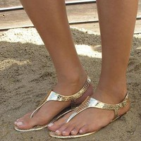 Minimal two part gold metallic sandal from Chockers Shoes