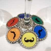 Mustache Set of SIX Drink Charms | BumbleBeeBottlecaps - Housewares on ArtFire