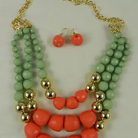 Bib  Fashion Necklace Set Layered Multi Strand Mint Salmon Acrylic Beads