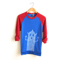 BOO - Monster Series Handpainted Eco Fleece Raglan Crew Neck Oversized Color Block Sweatshirt in Classic Red and Blue - S M L XL 2XL 3XL