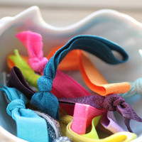 10 Hair Ties : Random Assortment of Ribbon Hair Ties, Ponytail, Bun, Top Knot, Bracelet, Rainbow, Yoga Ties, Grab Bag