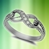 Sterling Silver Infinity Rope Ring with Clear Cubic Zirconia Stones